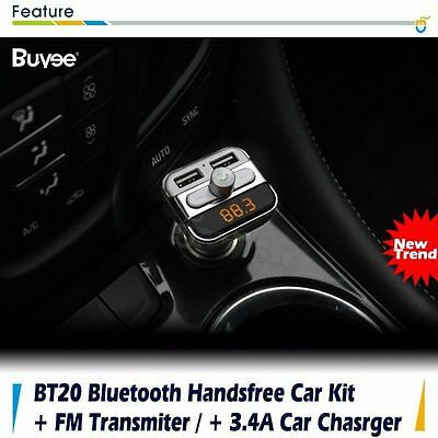 Bluetooth Car Kit Wireless FM Transmitter Audio MP3 Player Dual USB Charger New