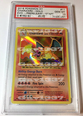 2016 STAFF Charizard XY Evolutions Pre-Release Holo Pokemon #11 PSA 10! Must See