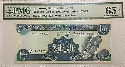 LEBANON 1,000 LIVRES 1991 PMG GEM UNCIRCULATED 65 EPQ BANKNOTE, P-69b.2