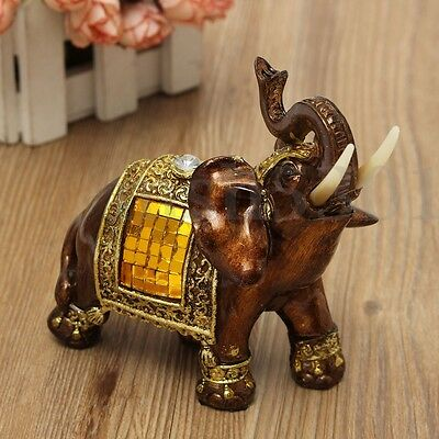 "5"" Resin Elegant Elephant Trunk Statue Wealth Lucky Figurine Ornate Decro"