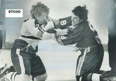 Darryl Sittler Throws Down w/Garry Howatt - Leafs/Islanders 8X10 Fight Photo