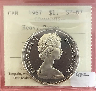 1967 Canada Silver One Specimen $1 Dollar Coin 472 ICCS SP 67 Heavy Cameo