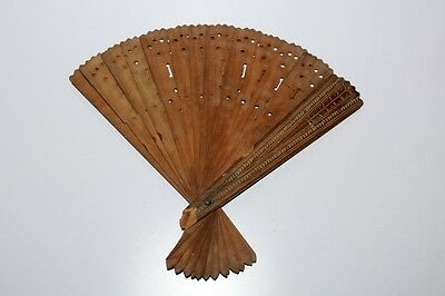 Old Vintage Unique Wooden Hand Crafted Antique Chinese Fan Collectible