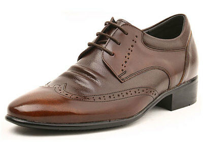 MEN'S HIGH HEELS Brown Comfy wing tip Leather Dress Shoes