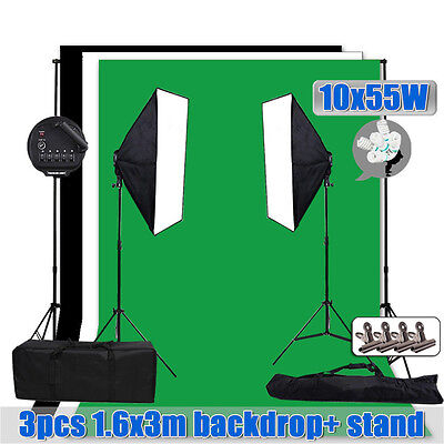 5 Head Photo Studio Softbox Light Stand 1.6x3m Backdrop Backgrounds Support Kit