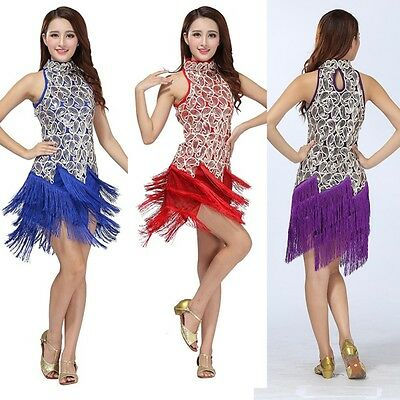Women Latin Ballroom Samba Salsa Dance Dress Sequined Tassels Skirt Partywear US