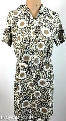 VINTAGE Mid century 60s silky weight neutral bold muted FLORAL shift dress 10 12