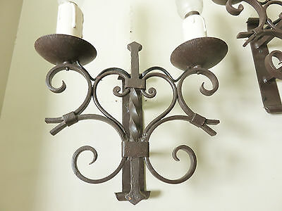 SUPERB SCONCES WALL LIGHTS WROUGHT IRON LAMPS 1950's FRENCH LOVE HEARTS