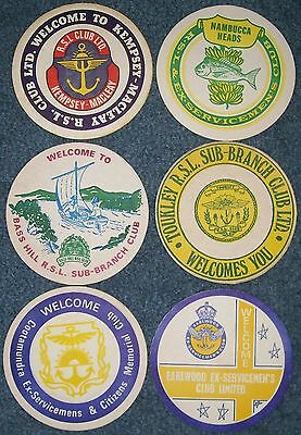 6 Collectable vintage 1970's beer coasters from various NSW RSL Clubs