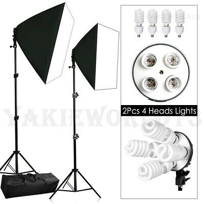 2200W Photo Studio 4 Head Softbox Continuous Lighting Soft Box Light Stand Kit