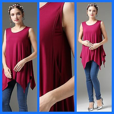 Sale New Berry Maternity Nursing Breastfeeding Waterfall Top Size 8 10 12 14 16