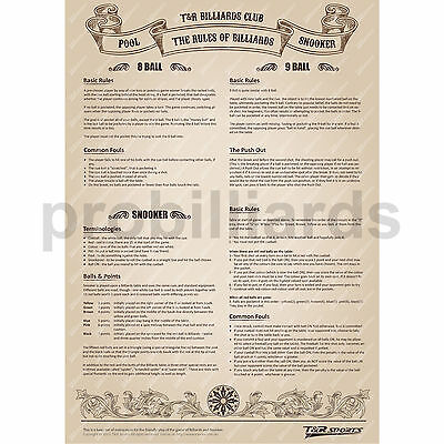 Rules Poster for Billiard Pool Snooker Table Game Must Buy Free AU Postage