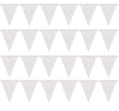 12ft White Lace Flag Banner Bunting Wedding Party Decorations Die Cut Vintage