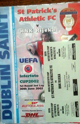 St Patricks Ath V Hnk Rijeka 30/6/2002 Uefa Intertoto Cup   Ticket