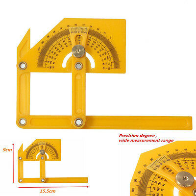 1pc Angle Engineer Protractor Finder Measure Arm Ruler Gauge Tool Yellow