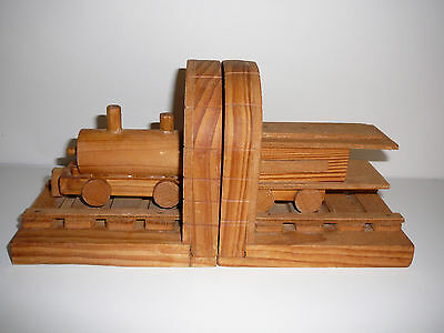 Handmade Timber Train Bookends Wood Kids Bedroom Decor Books Novelty