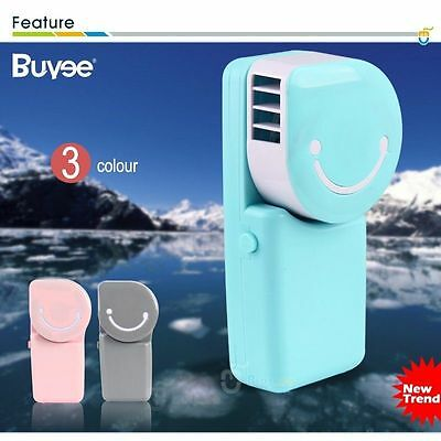 Smiling Face Mini Hand Held Air Conditioner USB Pocket Portable Cooler Fan CA