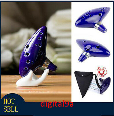 12 Hole Ocarina Ceramic Alto C Legend of Zelda Ocarina Flute Blue Instrument US