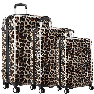 KONO Leopard Hard Shell 4 Wheel Spinner Suitcase Set Luggage Trolley Cabin Hand