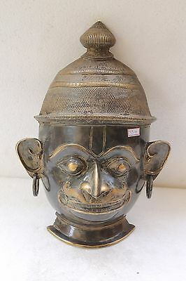 Vintage Old Brass Hindu Religious God Hanuman Engraved Wall Hanging Mask NH3510