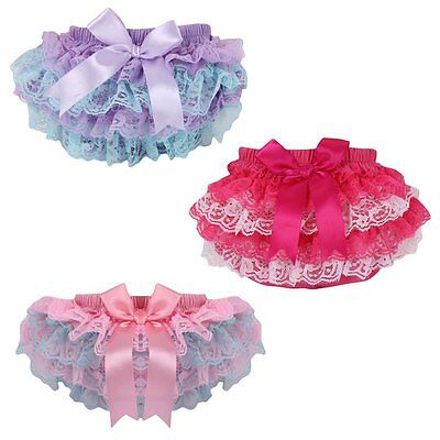 Baby Girls Lace PP Pants Panties Ruffle Bloomers Baby Nappy Cover Shorts Bottoms