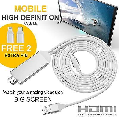For iPhone 8pin Stouch 2M Lighting MHL To HDMI Cable 1080P HDTV Adapter