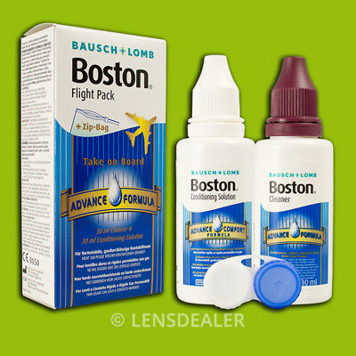 »» BOSTON FLIGHT PACK LINSENREINIGER 2x 30ml BAUSCH&LOMB HARTE KONTAKTLINSEN ««