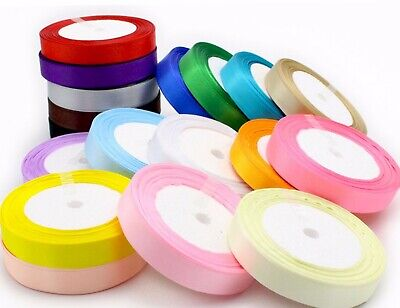 Super Sale 2 Free Rolls SATIN RIBBON 12mm x 10m Reels Decor Craft Wedding UK