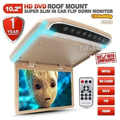 "10.2"" Slim HD LCD SD HDMI Beige Roof Mount Overhead DVD Flip-Down Monitor w/ LED"