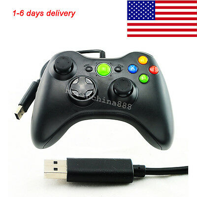 USB Wired Game Controller For Microsoft Slim & PC Black Gamepad US-USPS
