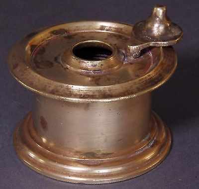 Indian Antique Hand Crafted Brass Ink Pot, free postage.