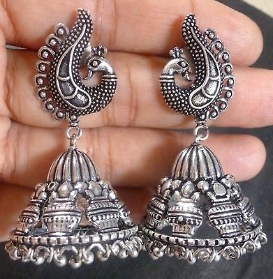 ANtique Silver Plated Designer Peacock 5 cm Long Vintage Earrings Jhumka a