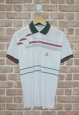 AUTHENTIC VINTAGE 80's GUCCI GG STRIPED POLO SHIRT MADE IN ITALY DESIGNER