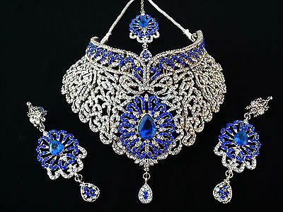 Indian Vintage Style Jewellery Set Blue Clear Stones Silver Plated New Aq/321