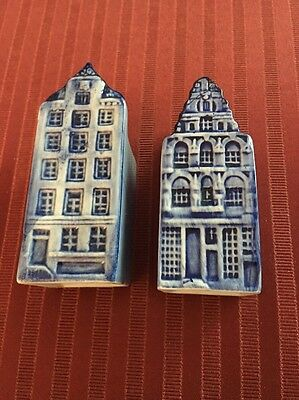 Vtg Delft Blue&White Hand painted canal house salt and pepper shakers