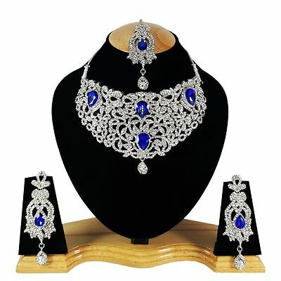 Indian Vintage Style Jewellery Set Blue Clear Stones Silver Plated New Aq/322