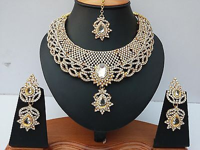 Indian Jewellery Set Clear Stones Gold Plated New - Aq/320