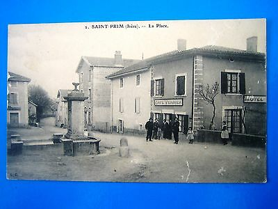 Cpa   Saint Prim-La Place-Cafe Verrier-Animee