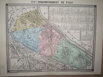 PARIS PLAN 16 e ARRONDISSEMENT DE PASSY  DESBUISSONS ERHARD BARBA 19 è