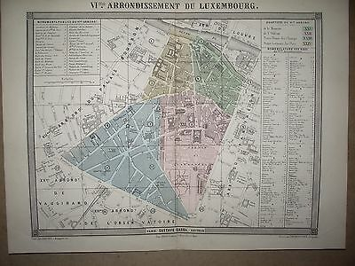 PARIS PLAN 6 e ARRONDISSEMENT DU LUXEMBOURG  DESBUISSONS ERHARD BARBA  19 EME