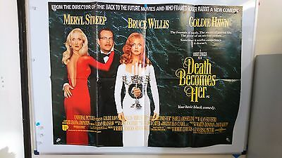 Death Becomes Her Original UK Quad Movie Film Poster Goldie Hawn 1992 Rare