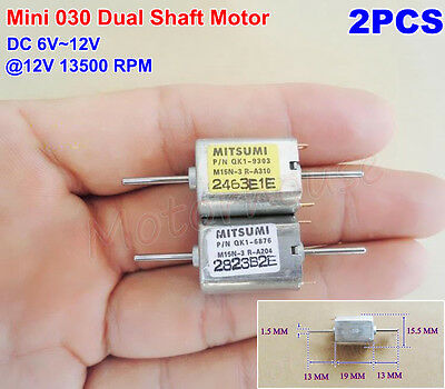 2PCS DC 6V 12V 13500RPM Dual Two Shaft Mini Motor Micro 030 Motor Toy Model DIY
