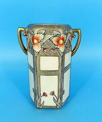 VTg NIPPON HAND PAINTED ART NOUVEAU FLORAL GOLD RELIEF OCTAGON FOOTED VASE 7""