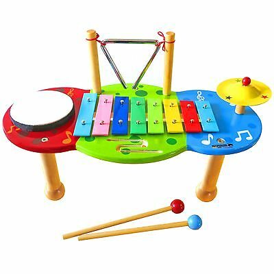 KEEPDRUM Musiktisch Schlagzeug Kinder-Percussion-Set Glockenspiel