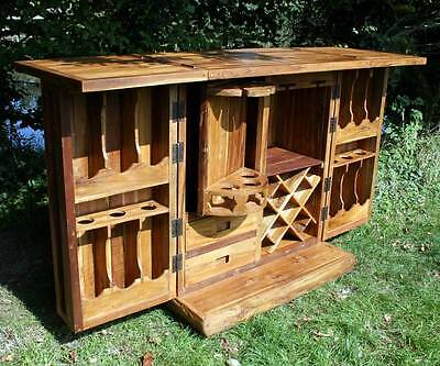 Compact Rustic Solid Recycled Wood Home Drinks Bar