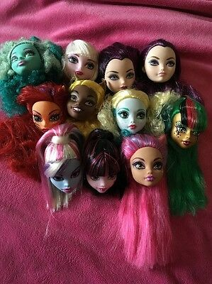 ❤️Monster High & Ever After High Bundle Of 10 Heads!! New!!❤️