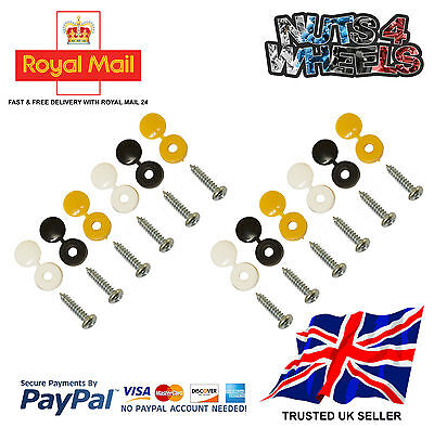 12 Pack Number Plate Fixing Screws & Caps = 12 x Caps & 12 x Screws Total 24 PCS
