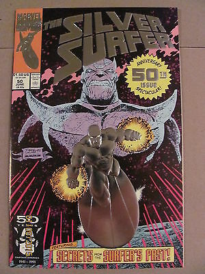 Silver Surfer #50 Marvel 1987 Series Infinity Gauntlet lead-in Thanos 9.4 Foil-C