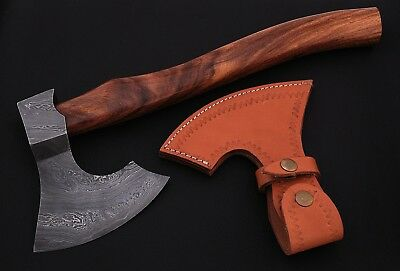 DAMASCUS Steel BLADE TOMAHAWK,AXE,HATCHET, ROSE WOOD HANDLE.