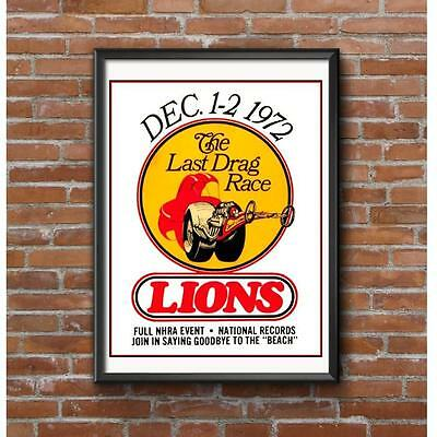 Lions Last Drag Race 1972 Poster - Long Beach Wilmington California